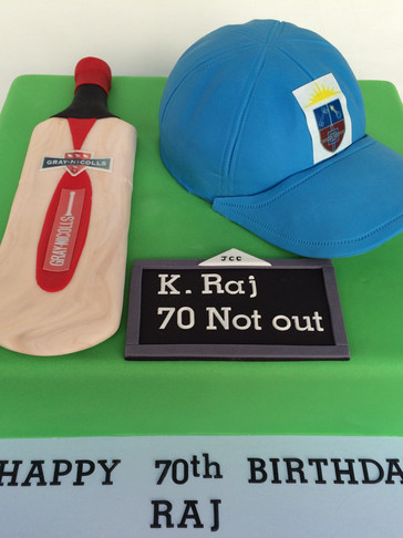 70th Birthday cake with Handmade fondant Cricket Bat & Cap