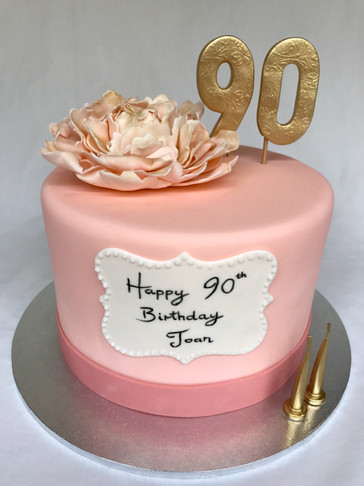 Peach coloured 90th Birthday cake with Handmade fondant Peony Rose