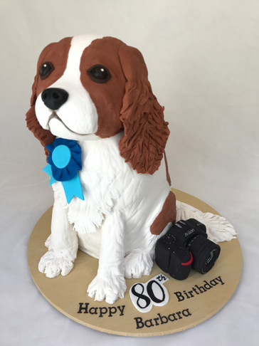 3D sculpted King Charles cavalier Choc Mud Dog cake with Handmade fondant Nikon camera