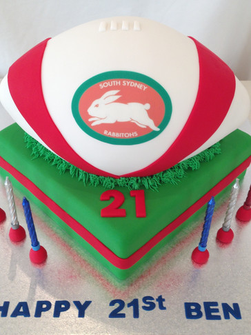 3D scuplted full-size 'Rabbitohs' Football cake