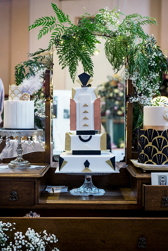 This art deco Roseberry cake creation is a stunning centrepiece for any special occasion
