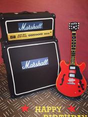 Marshall Amp Birthday cake with Handmade Fondant Gibson 335 guitar