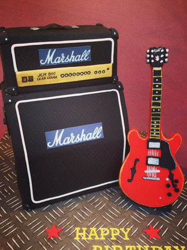Marshall Amp Birthday cake with Handmade Fondant Gibson 335 guitar