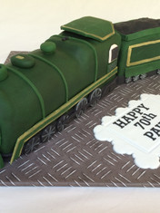 3D sculpted Train themed 70th Birthday Fruit cake