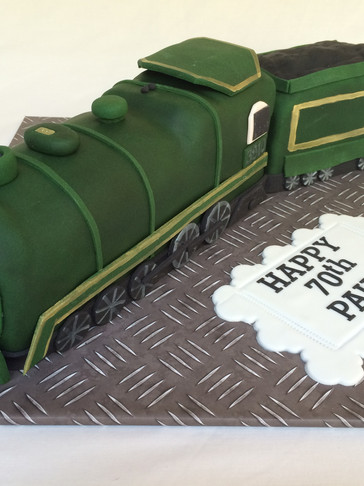3D sculpted Train themed 70th Birthday Fruit cake