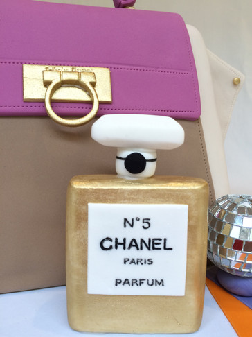 Handmade Fondant Chanel No. 5 bottle to complement 3D Handbag cake