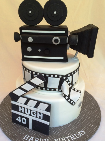 Surprise 3-tiered Camera cake for a film cameraman's 40th