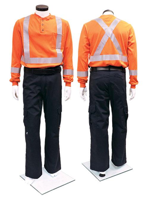 IFR Ultrasoft Henley Striped Long Sleeve T-Shirt - Orange