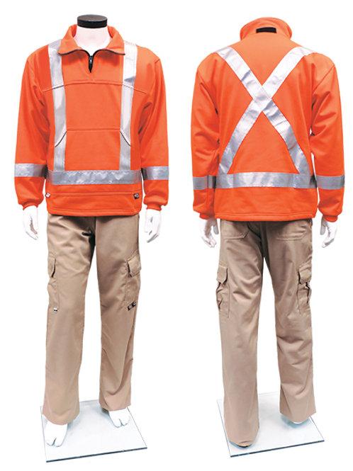 IFR Striped Fleece Pullover - Orange