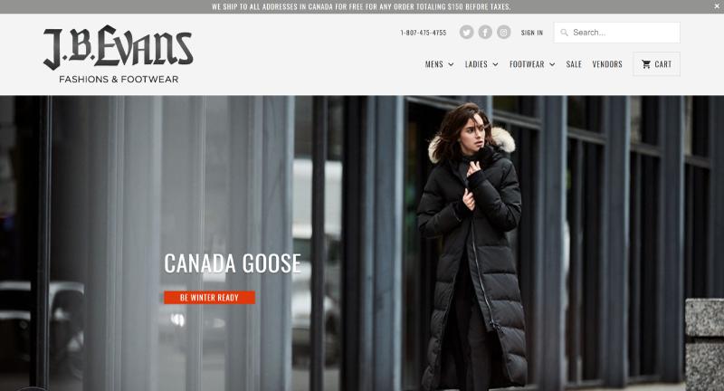 ACE-Shopify JB Evans Web Site