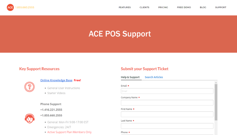 NEW ACE POS Support Resources