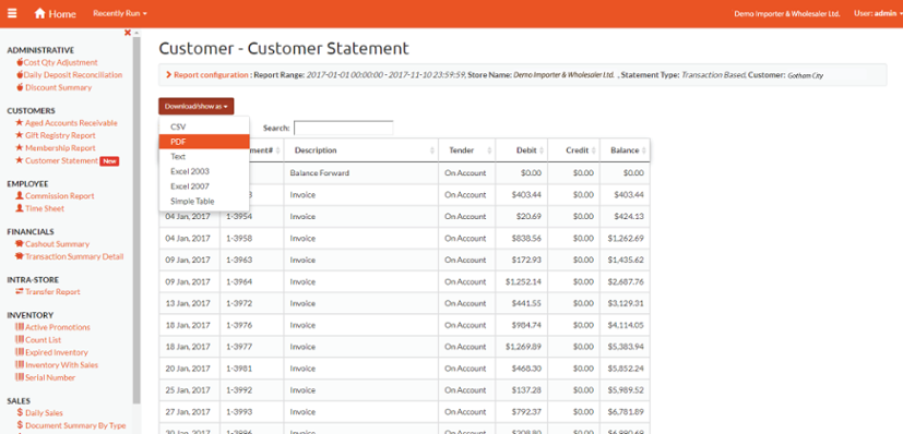 ACE POS Online Reports - Customer Statements