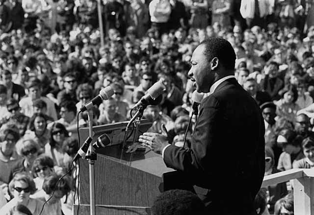 Dr. Martin Luther King speaking against war in Vietnam, St. Paul Campus, University of Minnesota. CC licensed image by Flickr user Minnesota Historical Society.