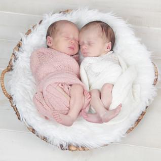 Newborn Twin Girls in Basket