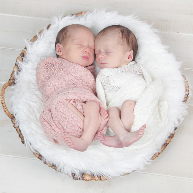 Newborn Twin Girls in Basket