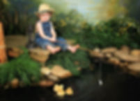 duckling scene with boy