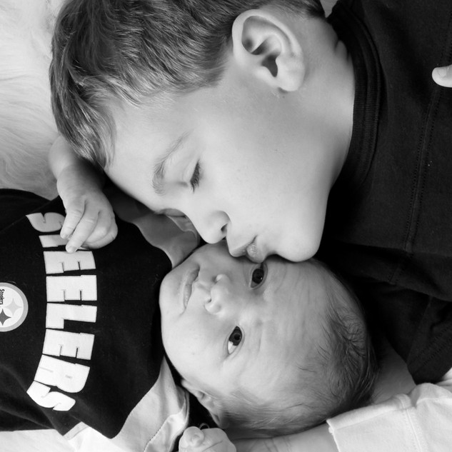 Newborn Steelers Fan with Older Brother