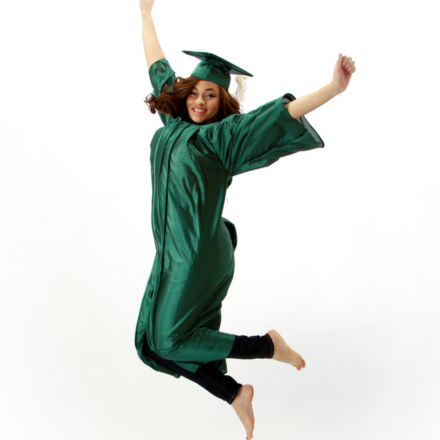 Senior Cap & Gown Jump Portrait