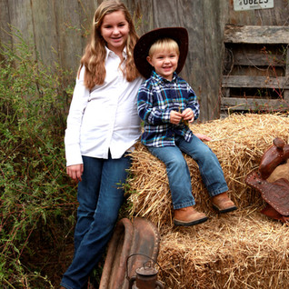 Outdoor Barn Sibling Portrait