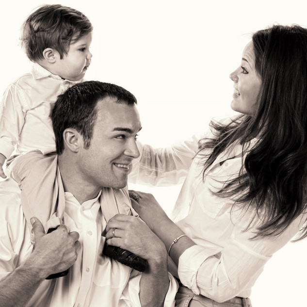 Family of Three Black and White Portrait
