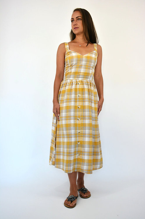 MUSTARD CHECK BUTTON FRONT DRESS