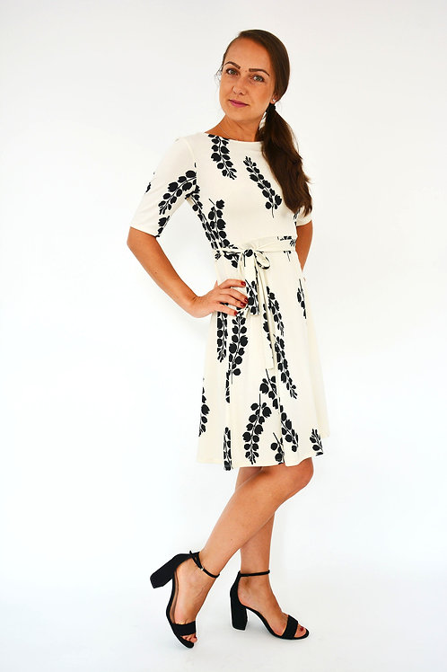 BEIGE FLORAL PRINT FIT & FLARE DRESS