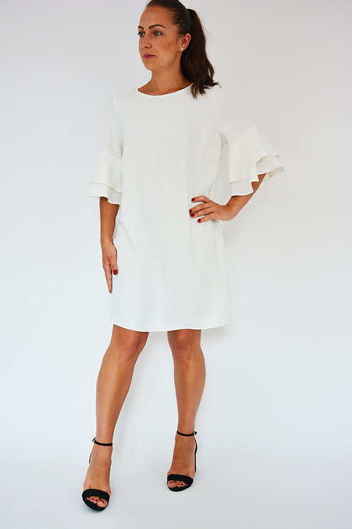 OFF WHITE FRILL LAYERED SLEEVE SHIFT DRESS