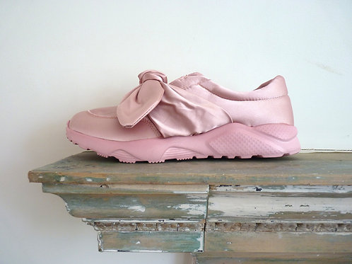 PINK SATIN TIE BOW SLIP ON TRAINERS