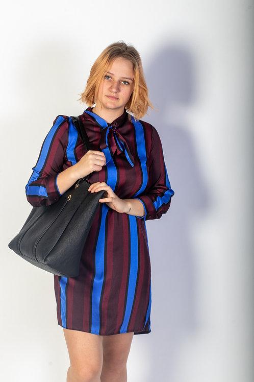 BURGUNDY AND BLUE STRIPE NECK TIE SATIN SHIRT DRESS