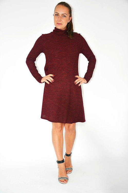 BURGUNDY MARL RIB SWING DRESS