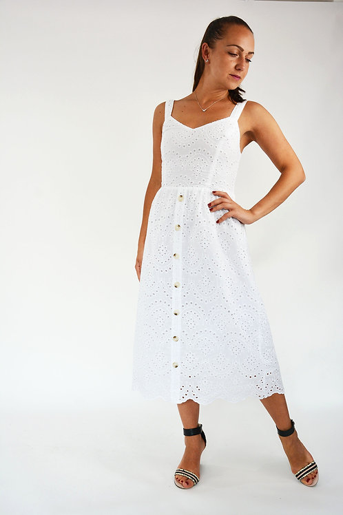 WHITE BRODERIE 100% COTTON MIDI DRESS