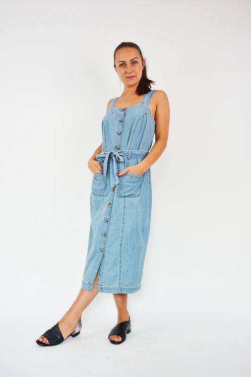 BLUE DENIM BUTTON FRONT BELTED PINAFORE DRESS