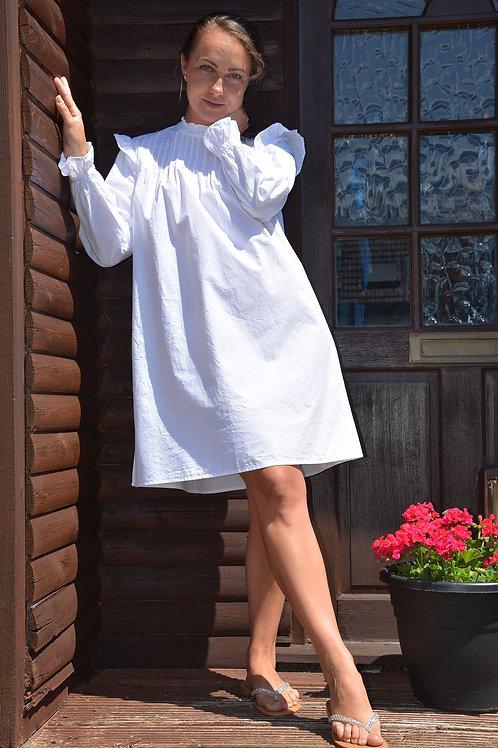 WHITE PINTUCK COTTON SWING DRESS