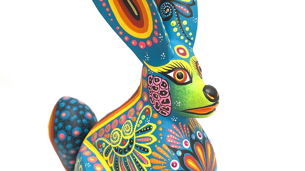 Teal Rabbit Oaxacan Alebrije