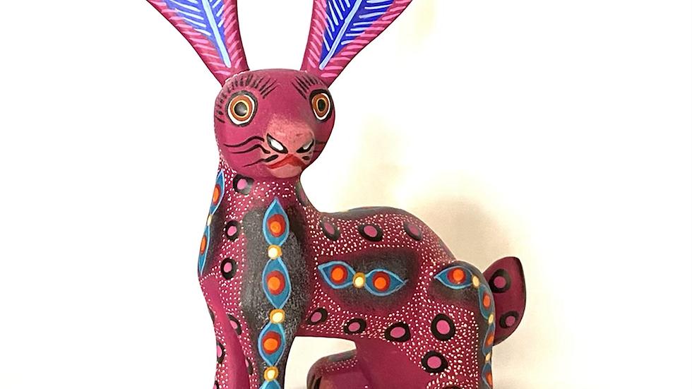 Pink rabbit Oaxacan Alebrije