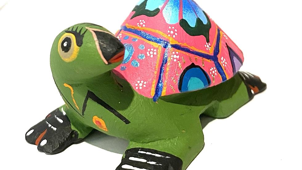 Green & pink turtle Oaxacan Alebrije