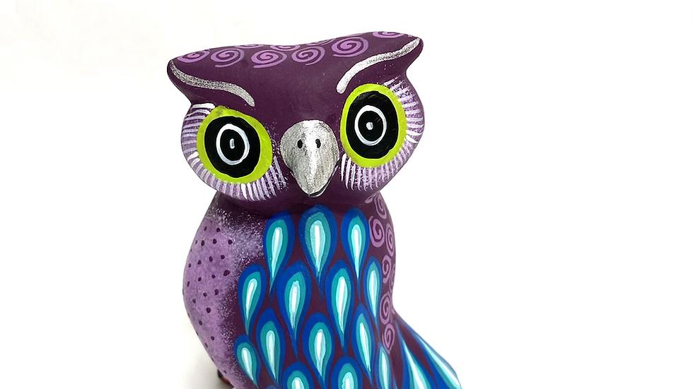 Purple Owl Oaxacan Alebrije