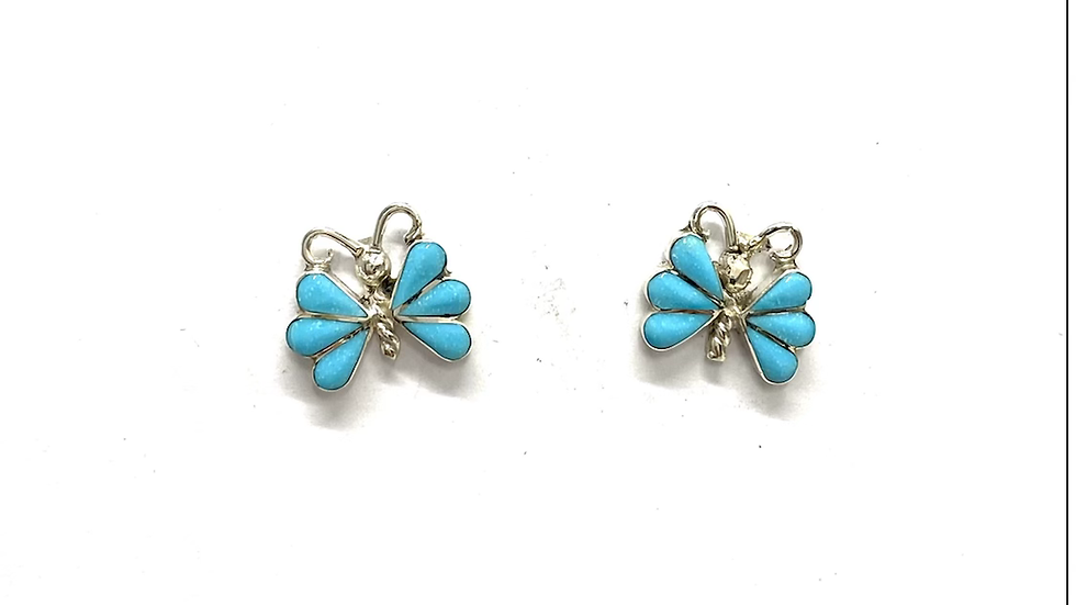 Butterfly turquoise inlay earrings