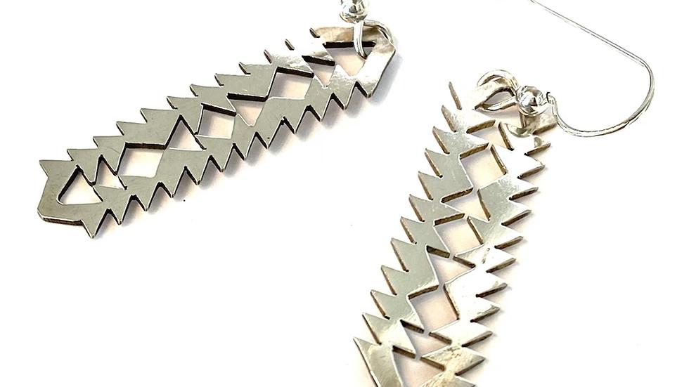 California basket pattern silver earrings