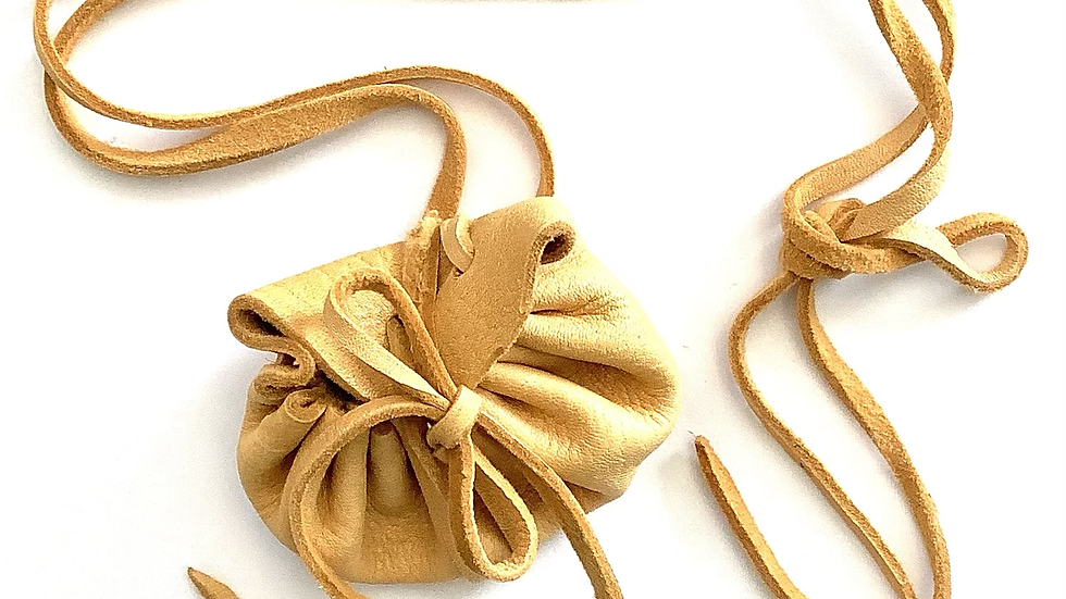 Leather pouch with long strap