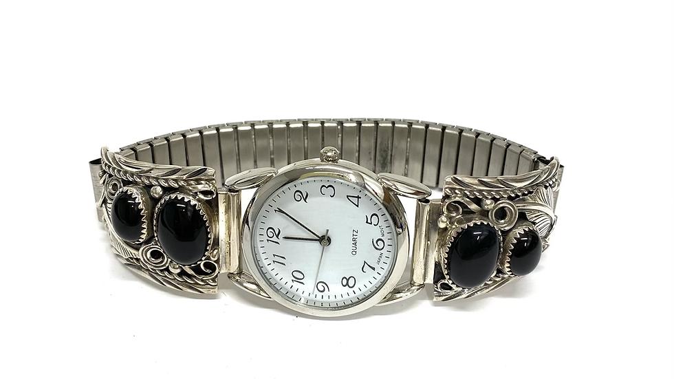 Black jet silver watch