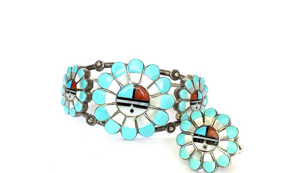 Sun face inlay bracelet