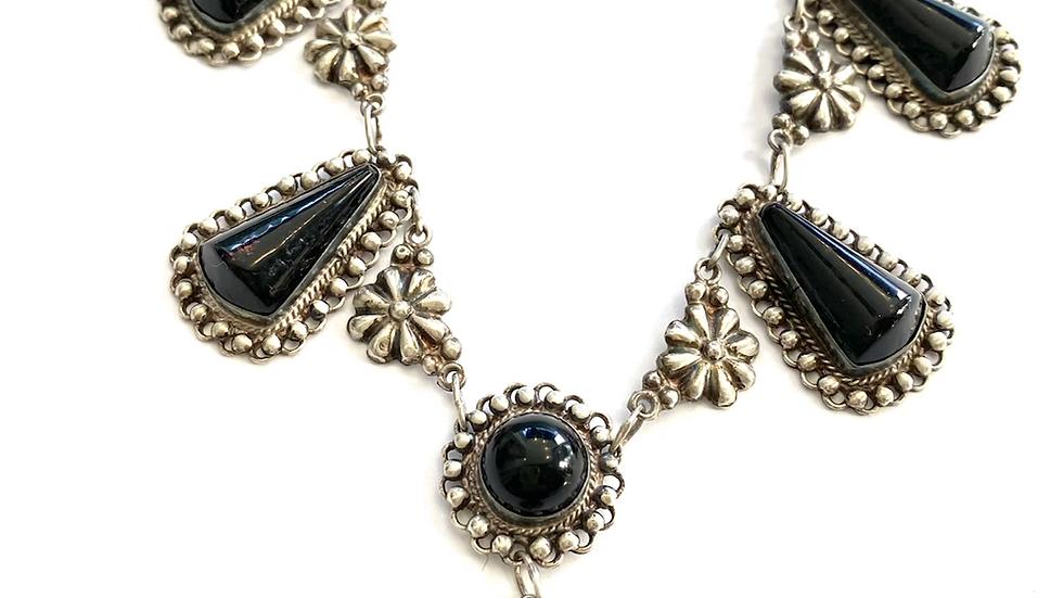 Black vintage plastic necklace