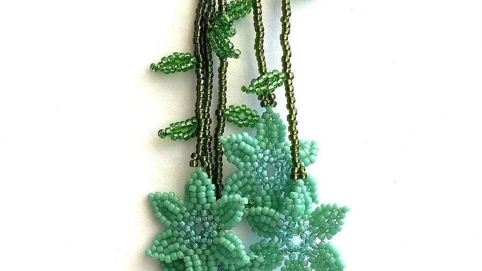 Turquoise green Huichol 6 flower earrings