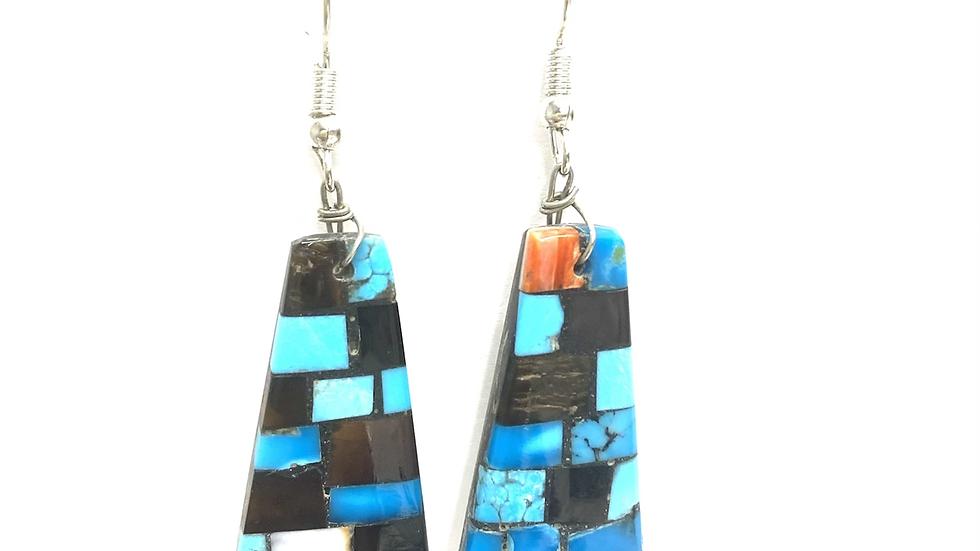 Mosaic earrings one orange one black