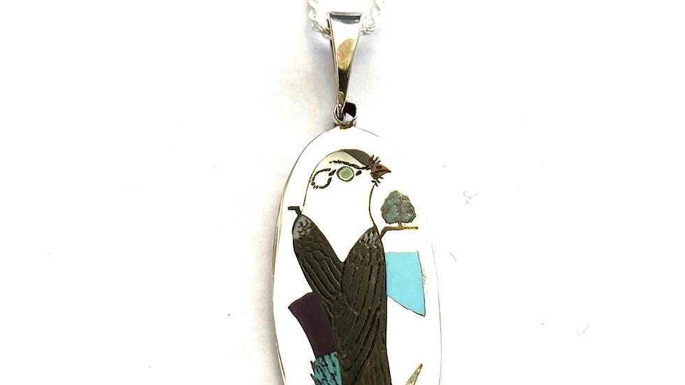 Inlay bird Zuni pendant