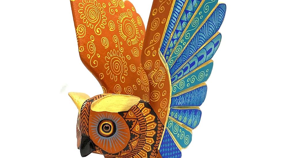 Orange owl Oaxacan Alebrije