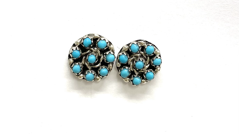 Zuni petit point circle post earrings
