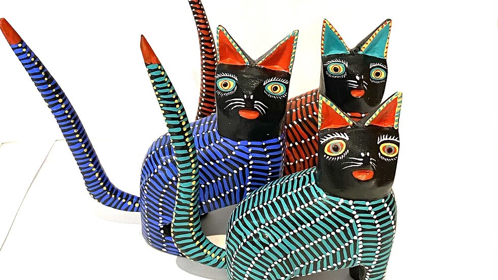 Teal, blue & red cats