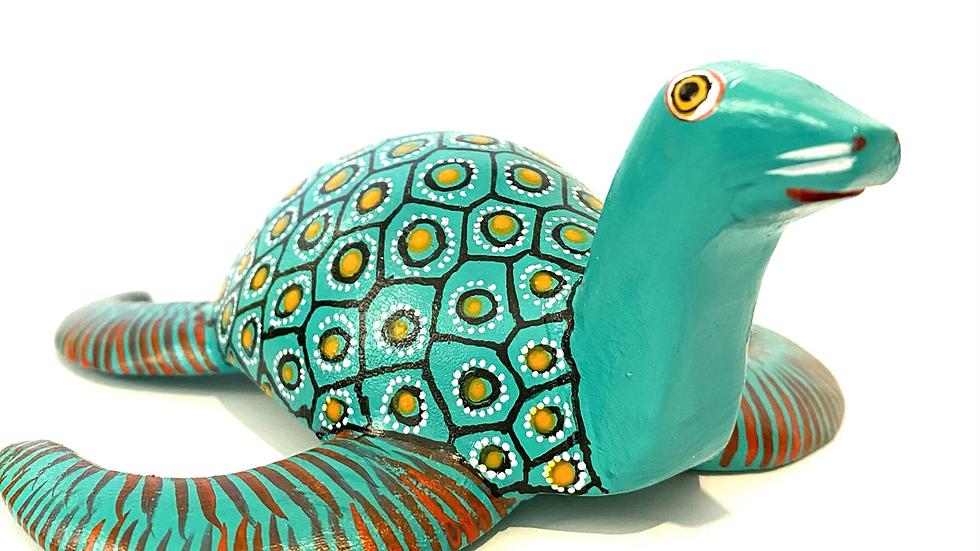 Teal seal/turtle Oaxacan Alebrije